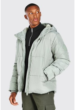 Mint green Hooded Toggle Detail Puffer