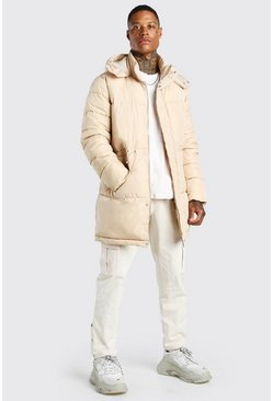 Stone beige Toggle Detail Longline Hooded Puffer