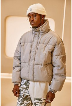 Light grey grey Funnel Neck Oversized Puffer