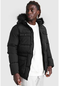 Black 4 Pocket Fur Trim Parka