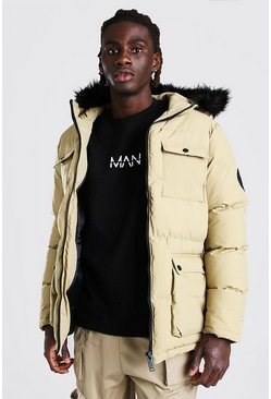 Stone 4 Pocket Fur Trim Parka