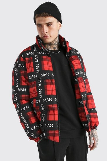 Red Man All Over Branded Check Puffer