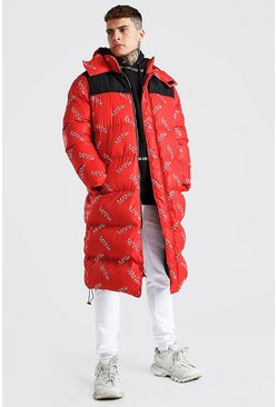 Red Man Branded All Over Longline Puffer