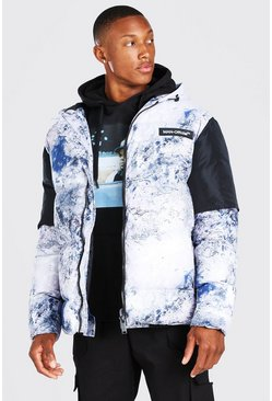 Multi Tie Dye Printed Colour Block Oversized Puffer