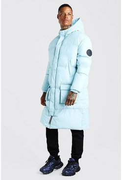 Light blue blue 4 Pocket Longline Hooded Puffer