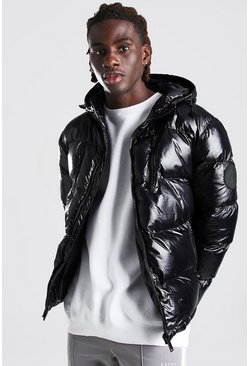 Black High Shine 4 Pocket Wet Look Puffer