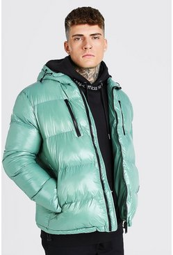 Green High Shine 4 Pocket Wet Look Puffer