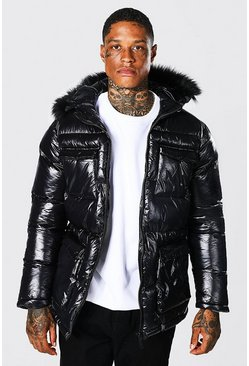Black High Shine 4 Pocket Fur Trim Hood Parka