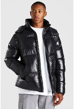 Black MAN Branded High Shine Puffer