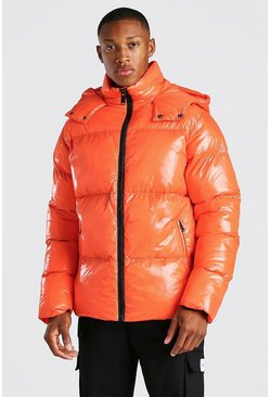 Orange MAN Branded High Shine Puffer
