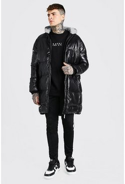 Black High Shine Longline Puffer With Reflective Hood