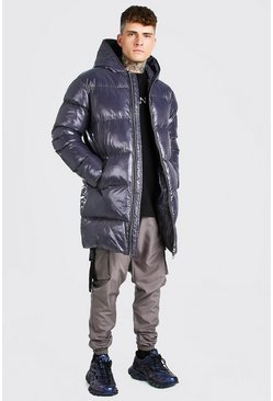 Charcoal grey High Shine Longline Puffer