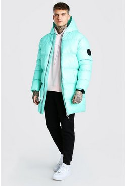Mint green High Shine Longline Puffer