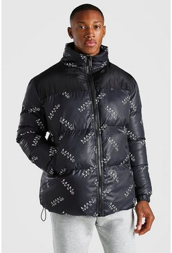 Black MAN Dash All Over Branded Puffer