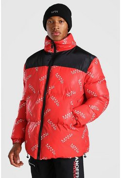 Red MAN Dash All Over Branded Puffer