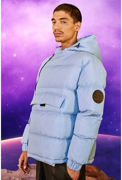Light blue blue Front Pocket Side Zip Hooded Puffer