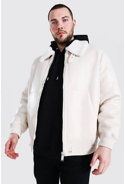 Cream white Plus Size Leather Look Aviator Bomber Jacket