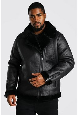 Black Plus Size Suede Faux Fur Trimmed Aviator