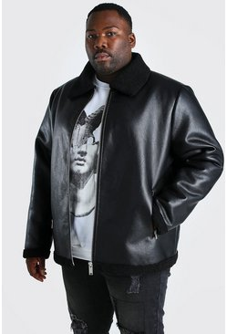 Black svart Plus Size Metallic Leather Look Aviator