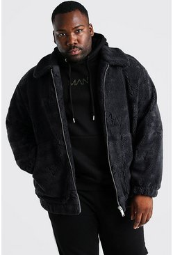 Charcoal Plus Size MAN Dash Borg Bomber Jacket
