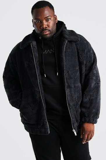 Charcoal grey Plus Size MAN Dash Borg Bomber Jacket
