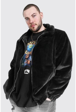 Black Plus Size Faux Fur Collared Bomber Jacket