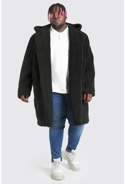 Black Plus Size Borg Hooded Duffle Coat