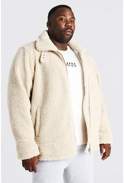 Cream white Plus Size Borg Trucker Jacket