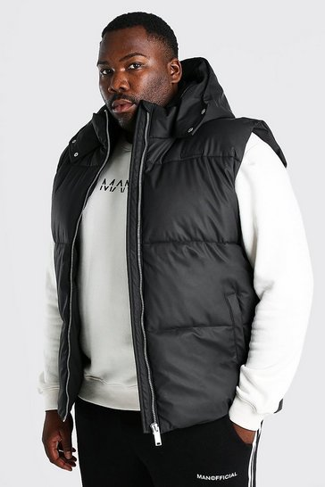 Black Plus Size Matte Finish Padded Gilet