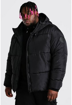 Black Plus Size Hooded Toggle Detail Puffer
