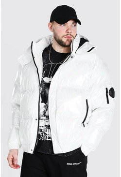 White Plus Size Iridescent Hooded Puffer