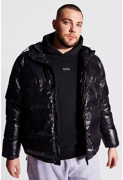 Black Plus Size High Shine Wet Look Puffer