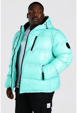 Mint Plus Size High Shine Wet Look Puffer