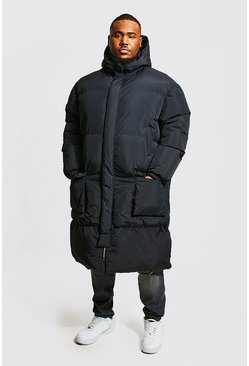 Black Plus Size 4 Pocket Longline Hooded Puffer