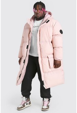 Pink Plus Size 4 Pocket Longline Hooded Puffer