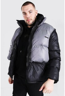 Black Plus Size Puffer With Detachable Gilet