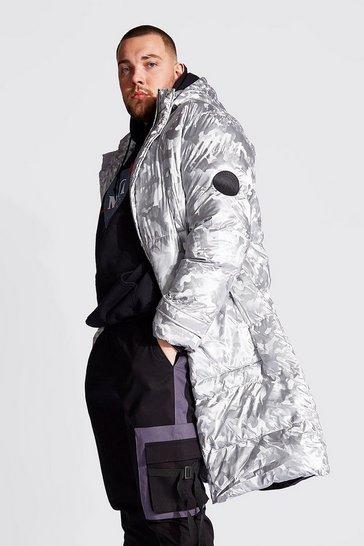 Silver Plus Size Longline Metallic Camo Puffer