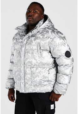 Silver Plus Size Funnel Neck Metallic Camo Puffer