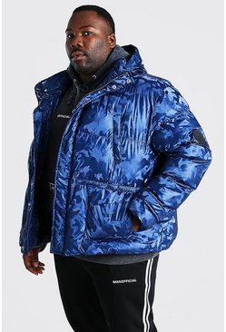 Navy Plus Size Funnel Neck Metallic Camo Puffer