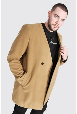 Camel beige Plus Size Smart Collarless 2 Button Overcoat