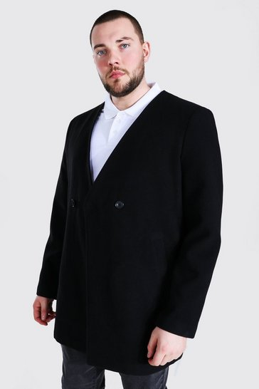 Black Plus Size Smart Collarless 2 Button Overcoat