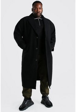 Black Plus Size Single Breasted Longline Overcoat
