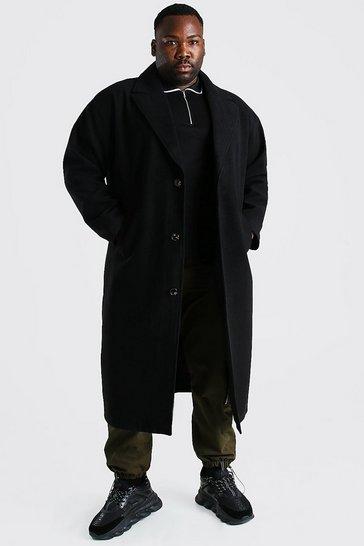 Black Plus Size Single Breasted Longline Overcoat
