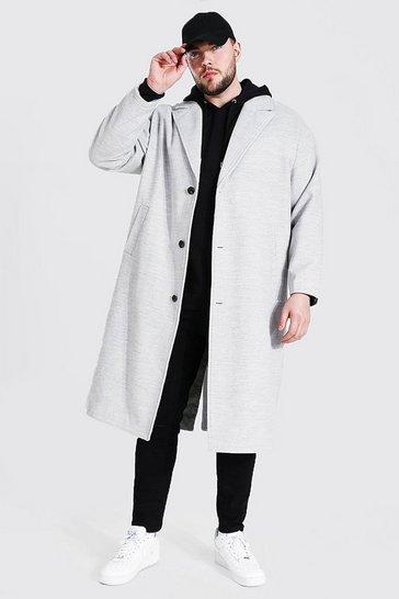Grey Plus Size Single Breasted Longline Overcoat