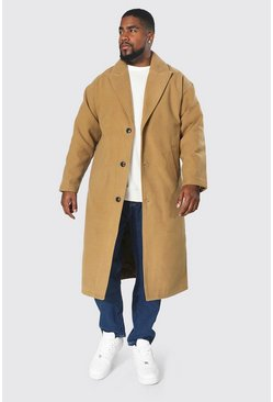 Camel Plus Size Single Breasted Longline Overcoat