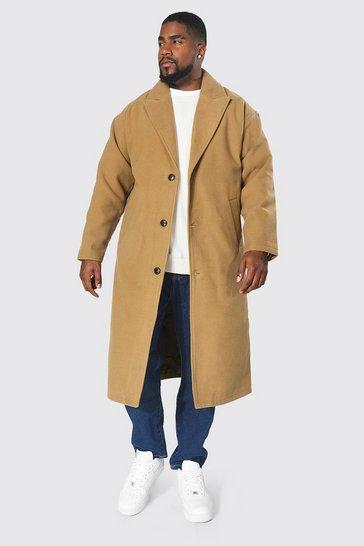 Camel beige Plus Size Single Breasted Longline Overcoat