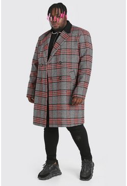 Red Plus Size Double Breasted Overcoat