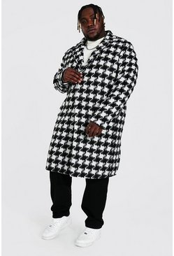 Black Plus Size Houndstooth Longline Overcoat