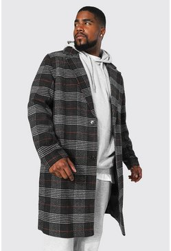 Charcoal Plus Size Check Single Breasted Overcoat