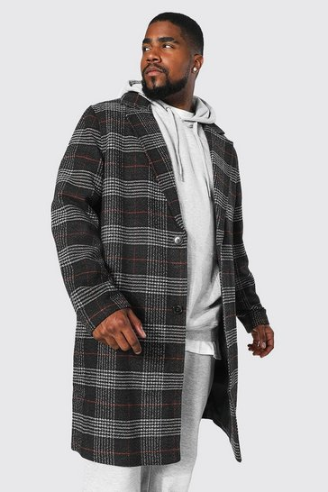 Charcoal grey Plus Size Check Single Breasted Overcoat